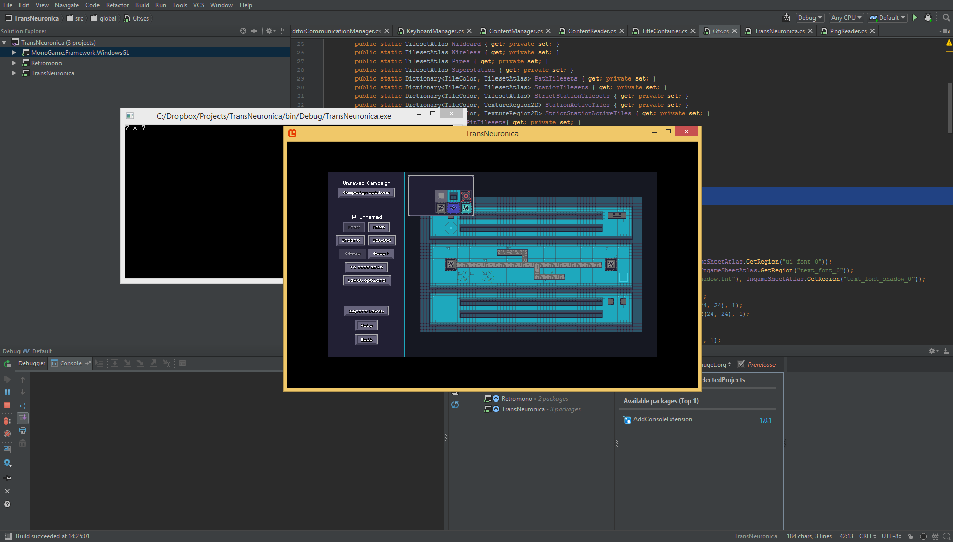 Trans Neuronica running in the new version of Monogame built from the source code