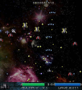 Galagian screenshot with small onslaught enemies