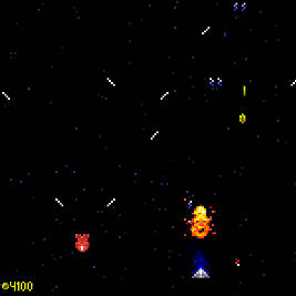 Galaxus screenshot with the player avoiding a fast moving enemy
