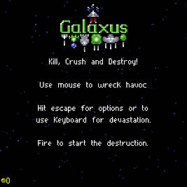 Galaxus screenshot with the title screen
