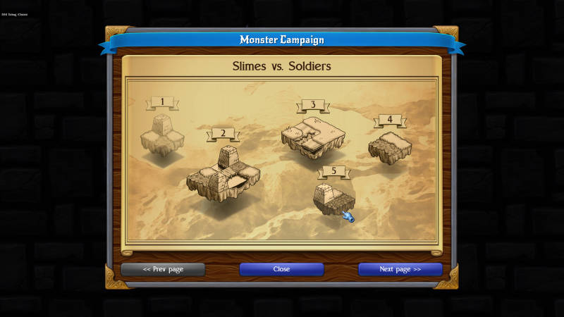 Monstro: Battle Tactics, showing mission selection screen
