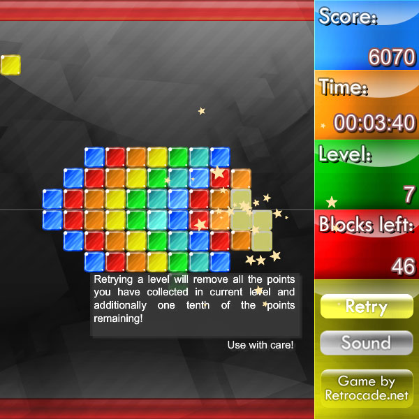 Weirdtris screenshot with a complex level