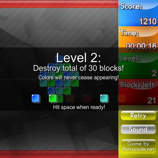 Weirdtris screenshot with a level title card