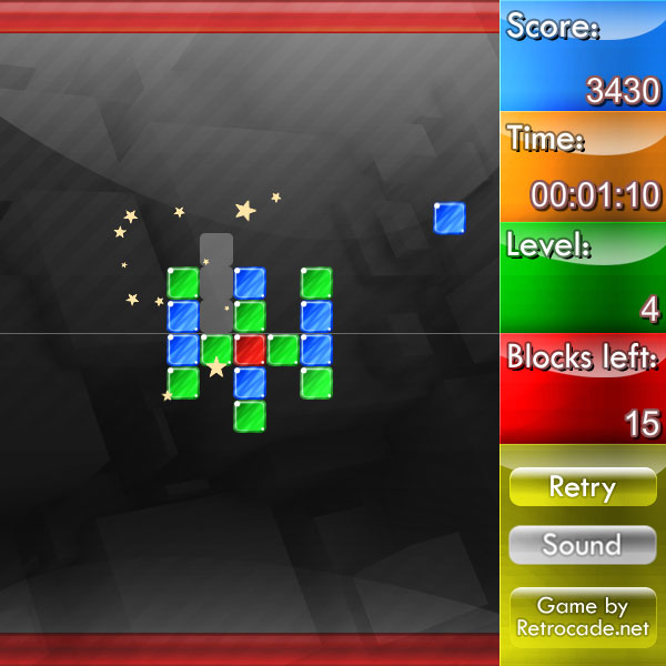 Weirdtris screenshot showing block clearing